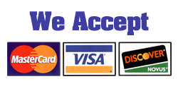 We accept MasterCard, Visa, and Discover